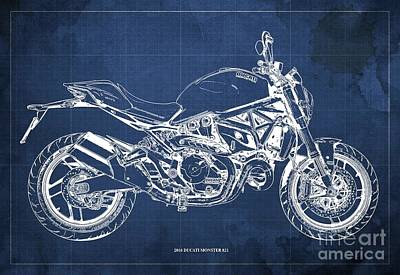 Catch Of The Day - 2016 Ducati Monster 821 Blueprint. Blue Background by Drawspots Illustrations
