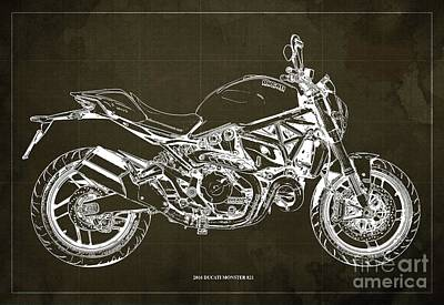 Catch Of The Day - 2016 Ducati Monster 821 Blueprint. Brown Background by Drawspots Illustrations