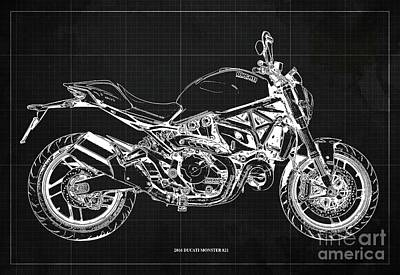 Catch Of The Day - 2016 Ducati Monster 821 Blueprint. Dark Grey Background by Drawspots Illustrations