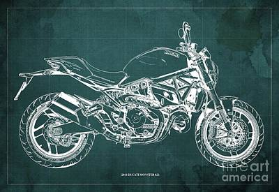 Catch Of The Day - 2016 Ducati Monster 821 Blueprint. Green Background by Drawspots Illustrations