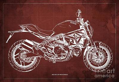 Catch Of The Day - 2016 Ducati Monster 821 Blueprint. Red Background by Drawspots Illustrations