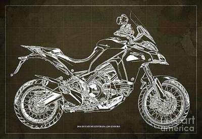Revolutionary War Art - 2016 Ducati Multistrada 1200 Enduro,Brown Background,Original Gift for bikers by Drawspots Illustrations