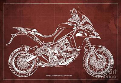 Revolutionary War Art - 2016 Ducati Multistrada 1200 Enduro,Red Background,Original Gift for bikers by Drawspots Illustrations