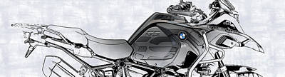 Drawings Royalty Free Images - 2017 BMW R1200GS Adventure Royalty-Free Image by Drawspots Illustrations