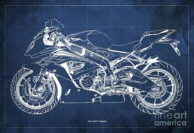 The Bunsen Burner - 2017 BMW S1000RR Blueprint,Blue Background,Office Decoration by Drawspots Illustrations