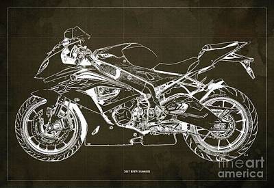 The Bunsen Burner - 2017 BMW S1000RR Blueprint,Brown Background,Office Decoration by Drawspots Illustrations
