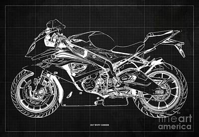 Audrey Hepburn - 2017 BMW S1000RR Blueprint,Dark Grey Background,Office Decoration by Drawspots Illustrations