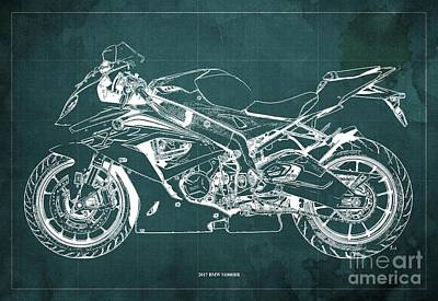 The Bunsen Burner - 2017 BMW S1000RR Blueprint,Green Background,Office Decoration by Drawspots Illustrations
