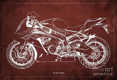 The Bunsen Burner - 2017 BMW S1000RR Blueprint,Red Background,Office Decoration by Drawspots Illustrations