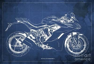 Leonardo Da Vinci - 2017 Ducati SuperSport S Blueprint, Original Blue Background by Drawspots Illustrations