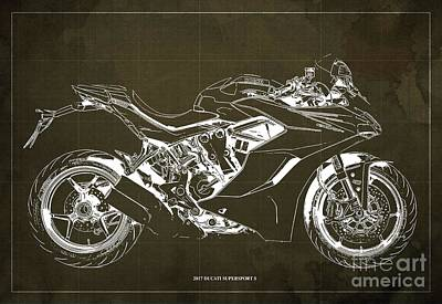 Leonardo Da Vinci - 2017 Ducati SuperSport S Blueprint, Original Brown Background by Drawspots Illustrations