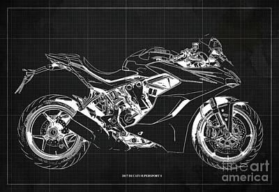 Leonardo Da Vinci - 2017 Ducati SuperSport S Blueprint, Original Dark Grey Background by Drawspots Illustrations