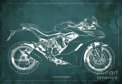 Leonardo Da Vinci - 2017 Ducati SuperSport S Blueprint, Original Green Background by Drawspots Illustrations