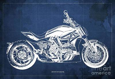 Revolutionary War Art - 2019 Ducati XDiavel Blueprint,Blue Background,Gift for bikers by Drawspots Illustrations