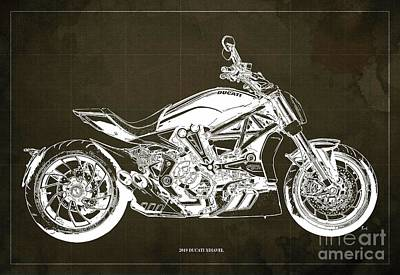 Revolutionary War Art - 2019 Ducati XDiavel Blueprint,Brown Background,Gift for bikers by Drawspots Illustrations
