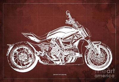 Revolutionary War Art - 2019 Ducati XDiavel Blueprint,Red Background,Gift for bikers by Drawspots Illustrations