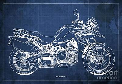Studio Grafika Science - 2020 BMW F750GS Blueprint,Blue Background,Home Office Decoration by Drawspots Illustrations