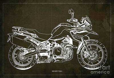 Studio Grafika Science - 2020 BMW F750GS Blueprint,Brown Background,Home Office Decoration by Drawspots Illustrations