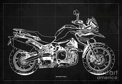Studio Grafika Science - 2020 BMW F750GS Blueprint,Dark Grey Background,Home Office Decoration by Drawspots Illustrations