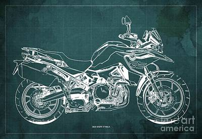 Studio Grafika Science - 2020 BMW F750GS Blueprint,Green Background,Home Office Decoration by Drawspots Illustrations