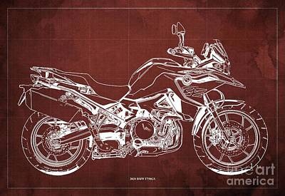 Studio Grafika Science - 2020 BMW F750GS Blueprint,Red Background,Home Office Decoration by Drawspots Illustrations