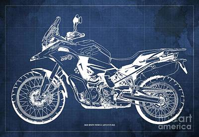 Studio Grafika Science - 2020 BMW F850GS Adventure Blueprint,Blue Background,Home Office Decoration by Drawspots Illustrations