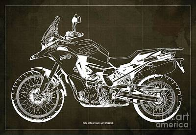 Studio Grafika Science - 2020 BMW F850GS Adventure Blueprint,Brown Background,Home Office Decoration by Drawspots Illustrations