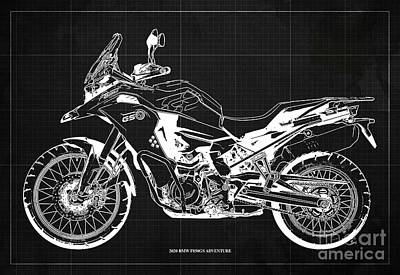 Studio Grafika Science - 2020 BMW F850GS Adventure Blueprint,Dark Grey Background,Home Office Decoration by Drawspots Illustrations