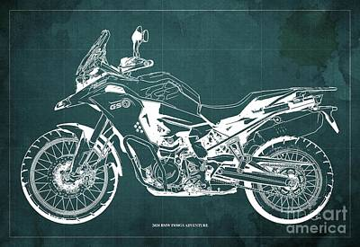 Studio Grafika Science - 2020 BMW F850GS Adventure Blueprint,Green Background,Home Office Decoration by Drawspots Illustrations