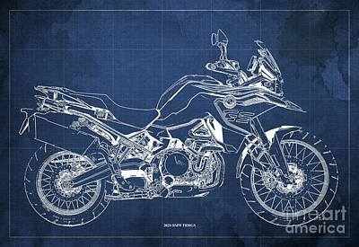 Studio Grafika Science - 2020 BMW F850GS Blueprint,Blue Vintage Background,Gift Ideas for Bikers by Drawspots Illustrations
