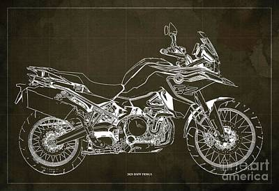 Studio Grafika Science - 2020 BMW F850GS Blueprint,Brown Vintage Background,Gift Ideas for Bikers by Drawspots Illustrations