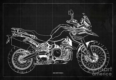 Studio Grafika Science - 2020 BMW F850GS Blueprint,Dark Grey Vintage Background,Gift Ideas for Bikers by Drawspots Illustrations