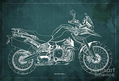 Studio Grafika Science - 2020 BMW F850GS Blueprint,Green Vintage Background,Gift Ideas for Bikers by Drawspots Illustrations