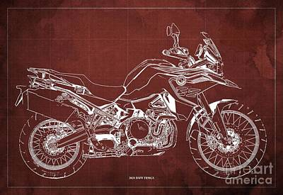 Studio Grafika Science - 2020 BMW F850GS Blueprint,Red Vintage Background,Gift Ideas for Bikers by Drawspots Illustrations