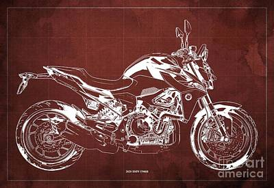 Drawings Royalty Free Images - 2020 BMW F900R Blueprint,Red Old Background,Home Office Decor Royalty-Free Image by Drawspots Illustrations