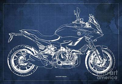 Vintage Uk Posters - 2020 BMW F900XR Blueprint,Blue Vintage Background,Gift Ideas for Bikers by Drawspots Illustrations