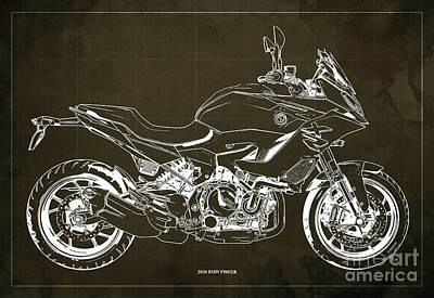 Celebrity Watercolors - 2020 BMW F900XR Blueprint,Brown Vintage Background,Gift Ideas for Bikers by Drawspots Illustrations