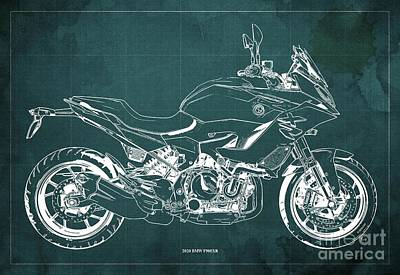 Celebrity Watercolors - 2020 BMW F900XR Blueprint,Green Vintage Background,Gift Ideas for Bikers by Drawspots Illustrations