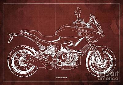 Celebrity Watercolors - 2020 BMW F900XR Blueprint,Red Vintage Background,Gift Ideas for Bikers by Drawspots Illustrations