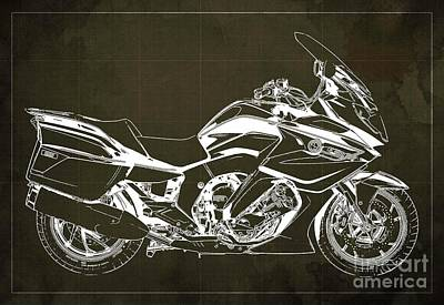 Drawings Royalty Free Images - 2020 BMW K1600GT Blueprint, Brown Background Royalty-Free Image by Drawspots Illustrations