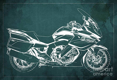 Drawings Royalty Free Images - 2020 BMW K1600GT Blueprint, Green Background Royalty-Free Image by Drawspots Illustrations