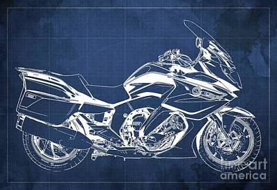 Drawings Royalty Free Images - 2020 BMW K1600GT Blueprint Original Artwork, Blue Background Royalty-Free Image by Drawspots Illustrations