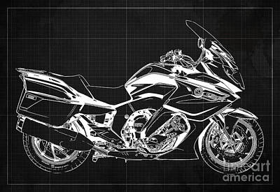Drawings Royalty Free Images - 2020 BMW K1600GT Blueprint Original Artwork, Dark Grey Background Royalty-Free Image by Drawspots Illustrations