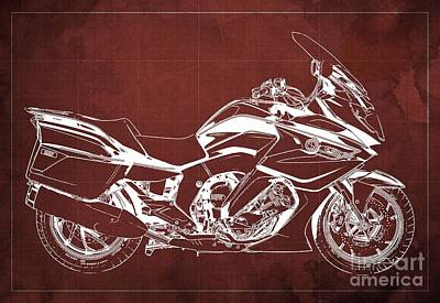 Drawings Royalty Free Images - 2020 BMW K1600GT Blueprint Original Artwork, Red Background Royalty-Free Image by Drawspots Illustrations