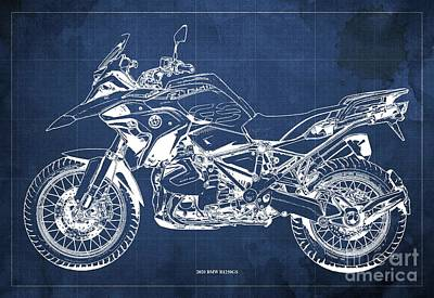 Vintage Uk Posters - 2020 BMW R1250GS Blueprint,Blue Background,Posters for bikers by Drawspots Illustrations