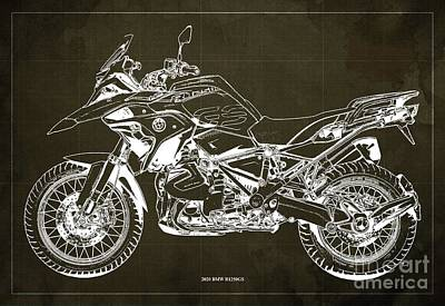 World Forgotten Rights Managed Images - 2020 BMW R1250GS Blueprint,Brown Background,Posters for bikers Royalty-Free Image by Drawspots Illustrations