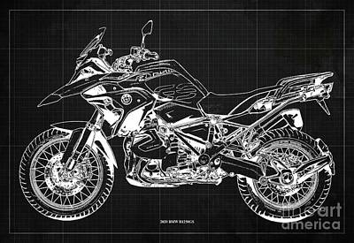 World Forgotten Rights Managed Images - 2020 BMW R1250GS Blueprint,Dark Grey Background,Posters for bikers Royalty-Free Image by Drawspots Illustrations