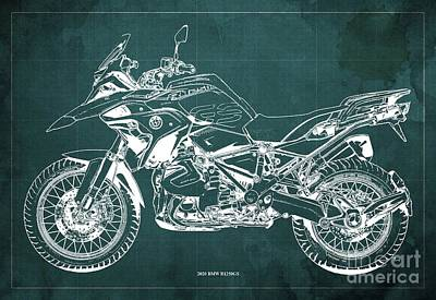 World Forgotten Rights Managed Images - 2020 BMW R1250GS Blueprint,Green Background,Posters for bikers Royalty-Free Image by Drawspots Illustrations