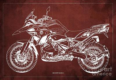 Vintage Uk Posters - 2020 BMW R1250GS Blueprint,Red Background,Posters for bikers by Drawspots Illustrations