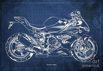 Vintage Uk Posters - 2020 BMW S1000RR Blueprint,Blue Background,Gift Ideas for Bikers by Drawspots Illustrations